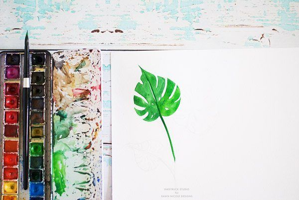 Watercolor Tropical Leaf Tutorial Tropical Leaves Painting Of