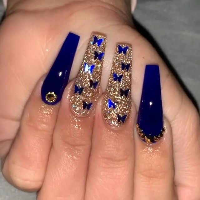 Blue Butterfly Acrylic Nails In 2020 Quinceanera Nails Short Acrylic Nails Designs Acrylic Nails Coffin Short