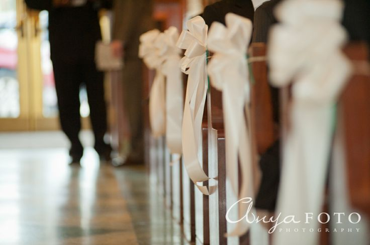 Wedding Ceremony Decor anyafoto.com #wedding, church wedding, indoor wedding, wedding ceremony decor ideas, bows on pews