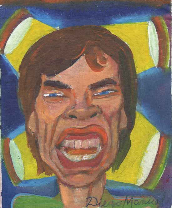 Mick Jagger portrait, acrilico sobre tela, 19 x 16 cm, 2015 Painting for sale of the Serie Music by artist Diego Manuel. Cuadro en venta de la Serie Musica