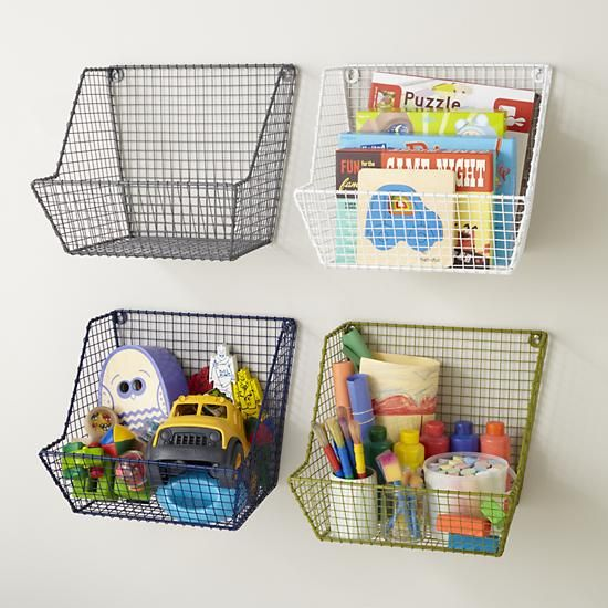 Ever feel like you leave all your cleaning up right until the last possible moment? Make quick work of clutter with these sturdy wire wall bins.  The powder coated iron construction means they're tough enough to tackle nearly any job.  And the variety of colors means they can match nearly any décor.