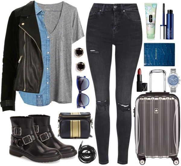 This airplane outfit is definitely more up my alley, at least when traveling to cities. The one issue is the metal on the jacket and boots but they're easy to take off as you go through the security line. Totally worth a little effort. For more tips, read Best Real People Airplane Outfit Ideas!