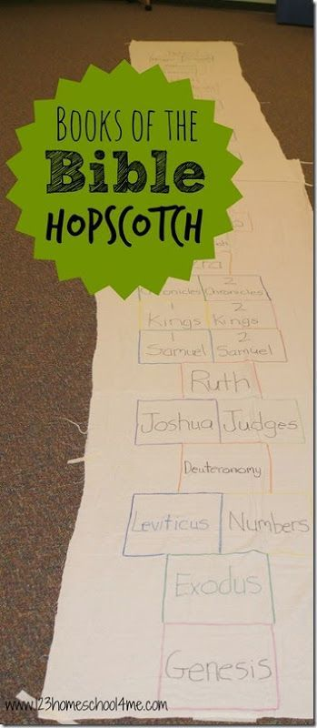 Books of the Bible Hopscotch - This is such a fun, clever and active way for kids to practice the books of the bible! Great for Sunday School Lessons for 1st grade, 2nd grade, 3rd grade kids.
