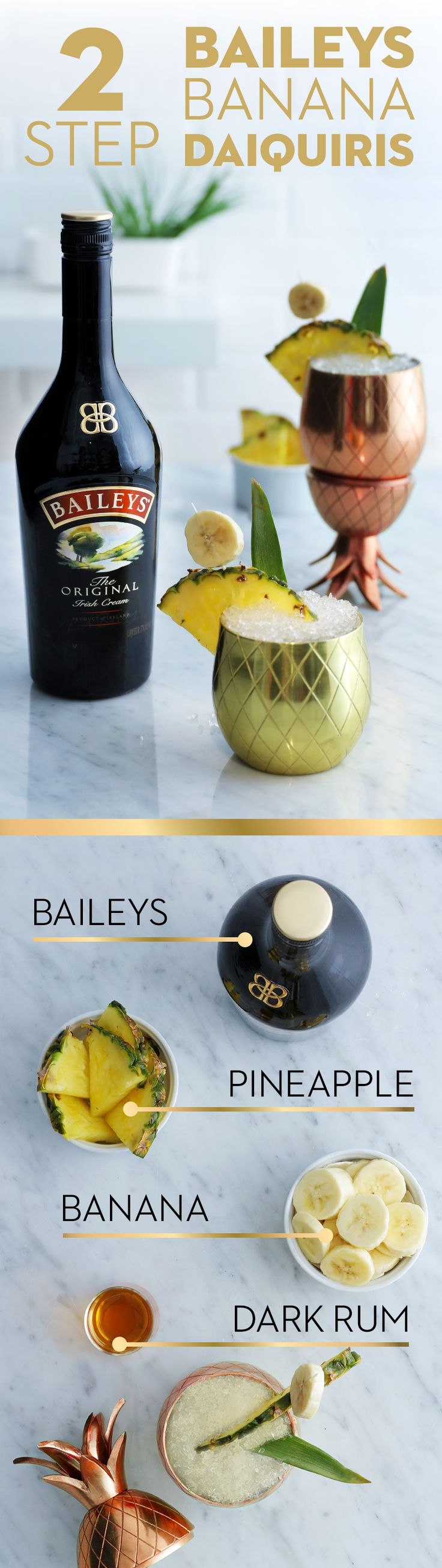 It's time to sit by the pool and beat the heat, and we've got just the recipe for the occasion! This Baileys Banana Daiquiri is a summer cocktail that's easy and delicious. So get your friends together because you're just 2 steps from savoring all the tropical frozen, smooth flavor. Recipe: Blend crushed ice, 4 oz. Baileys, 1 oz. Banana Liqueur, 4 oz. pina colada Mix, 2 oz. dark rum, and 1 oz. cream of coconut until smooth. Garnish with pineapple slice and additional bananas if desired.
