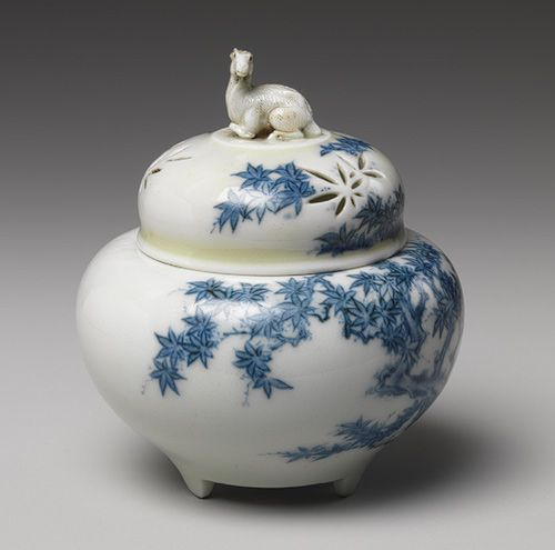 Incense burner (koro) with a reticulated cover, Edo period (1615–1868), mid-18th century  Japan, Hizen Province (Hirado ware)  White porcelain with blue underglaze decoration of maple leaves