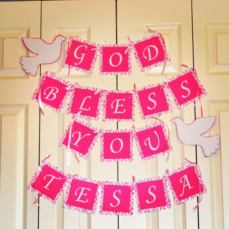 Made this banner for my baby girl baptism baptism banner for Baby girl baptism decoration ideas