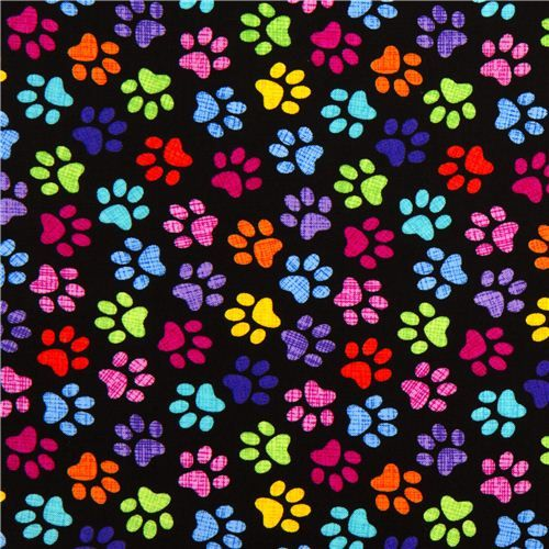 black designer fabric with colourful checkered paw prints