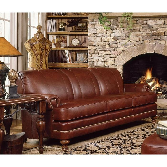 Nebraska furniture mart smith brothers traditional brown for Traditional brown leather couch