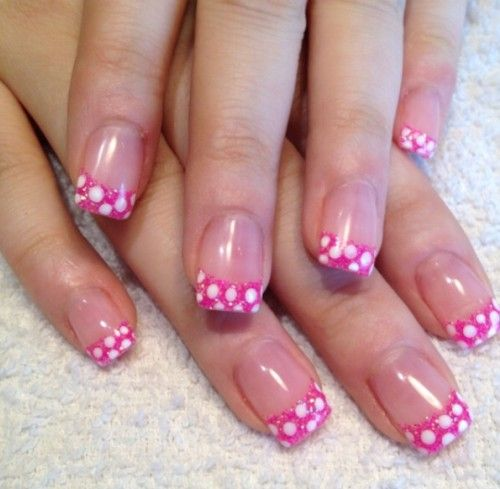 Love This Fun Pink tip Nail Design With White Polkadots at the tip