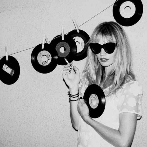 girl with vinyl records