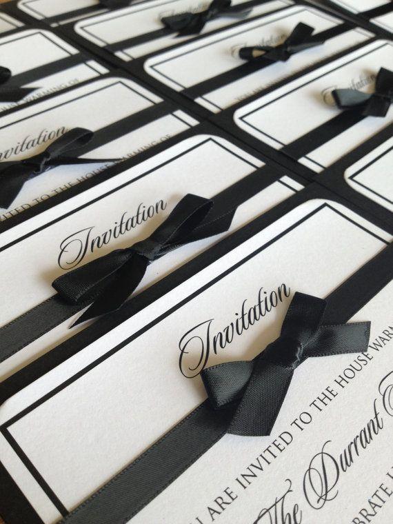 Des invitations classiques en noir et blanc ! A allier avec des marques places noir et blanc #wedding #marqueplace http://www.instemporel.com/s/3781_29586_marque-place-homme-smoking-mariage