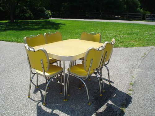 Vintage Formica Table and 6 Chairs, Yellow