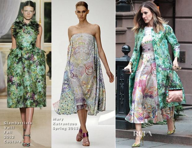 Sarah Jessica Parker In Giambattista Valli Couture & Mary Katrantzou - Out In New York City