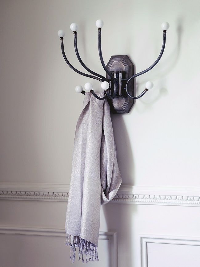 small entrance hall ideas, wall mounted swing out coat hooks