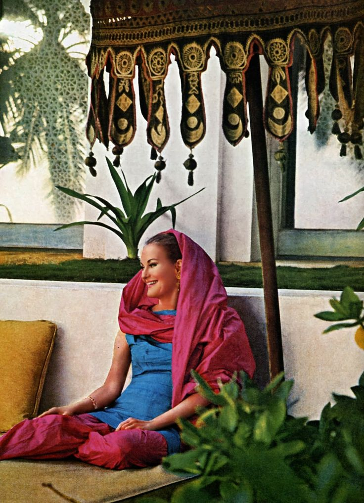 Doris Duke in 1966 on the terrace at Shangri La ~ a devotee of the cult of Islam, she immersed herself in Islamic culture, fashion, architecture, and art