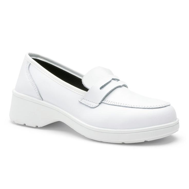 Chaussures de sécurité S.24 Ligne Executive Modèle Romane Blanc SBP Réf. 8792 • Tige cuir VERPELLE blanc • Doublure textile • Embout acier • Semelle anti-perforation inox • Semelle extérieure TPU light • Semelle intérieure cuir