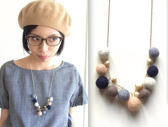 homako: R's felt ball necklace