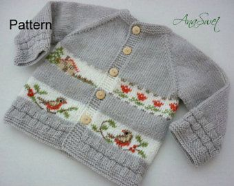 Baby knitting patterns.Knitted baby cardiganpattern por AnaSwet