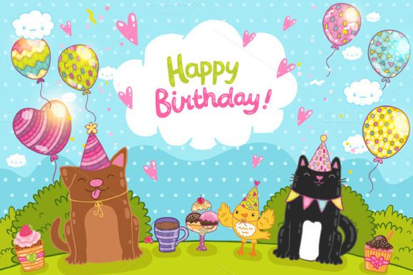 Happy Birthday. Cute animals by kostolom3ooo on Creative Market