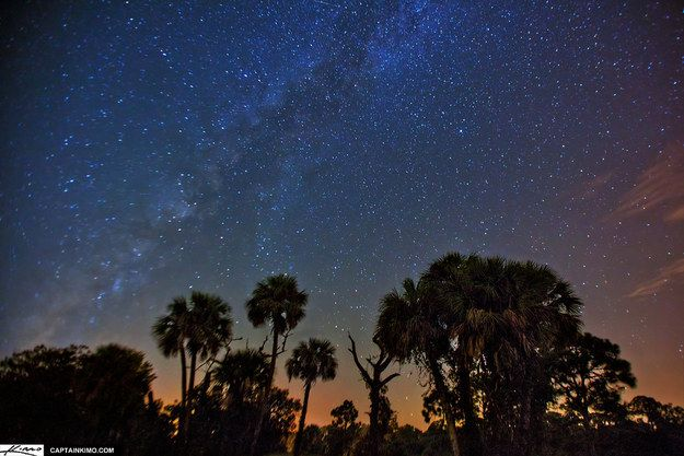 Big Pine Key, FL Although much of the sunshine state's humidity and light pollution prevent such nighttime views, Big Pine Key which is 100 miles south of Miami is known for its clear skies. It is one of the only places in the U.S. to see the Southern Cross constellation, which is visible in winter. Pro Tip: The Southern Cross Astronomy Society (one of the oldest astronomical societies in the west) throws a Winter Star Party every year