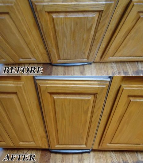 How To Refinish Kitchen Cabinets Yourself: These Oak Kitchen Cabinets With Color Wear And Water