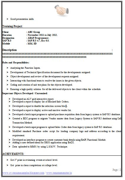 759 best Career images on Pinterest Career, Cook and Dieting foods - sap abap resume