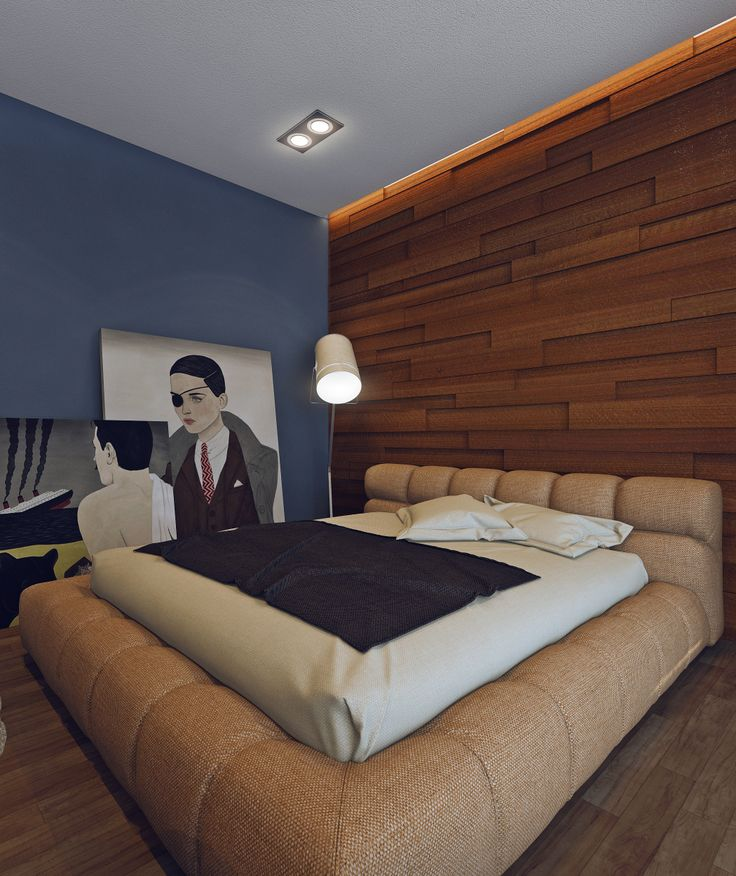 Bedroom for a young couple. Interior design by garmashalina.