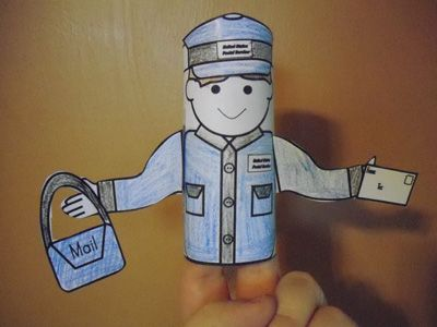 mailman toilet paper tube puppet activity with People Toob