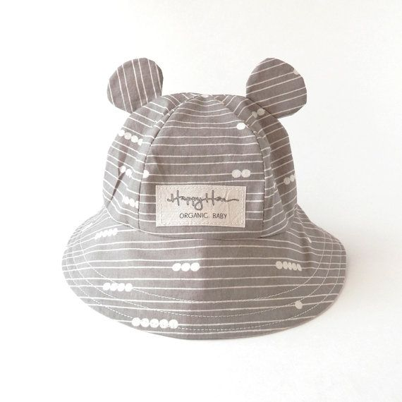 Baby Sun Hat in Organic Cotton, Baby Bear Ear Summer Hat Grey Lines & Dots, Eco Friendly Baby Boy or Girl, Modern Graphic Bucket Hat