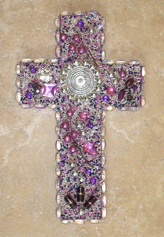 Silver Splashed Mauve Jeweled Wall Cross via Etsy