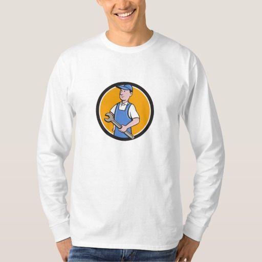 Repairman Holding Spanner Circle Cartoon Shirt. Illustration of a repairman handyman worker wearing hat and overalls holding spanner wrench looking to the side viewed from front set inside circle done in cartoon style. #Illustration #RepairmanHoldingSpanner