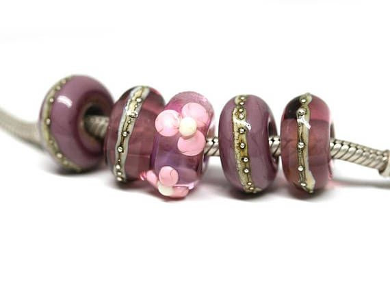 Purple Pink European bracelet beads Large hole Purple Lampwork