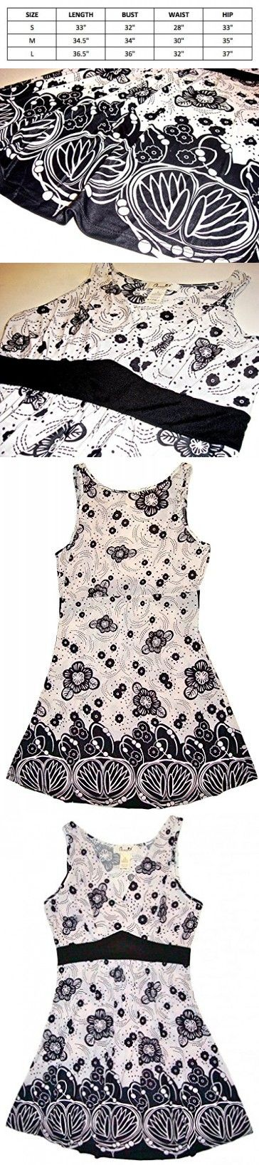 Chanceful Women's Sleeveless Front Overlap Ruched Floral Printed Shift Dress Large Black/White