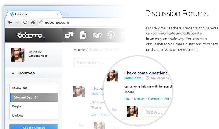 Edoome - a new social network for educators to create online classes