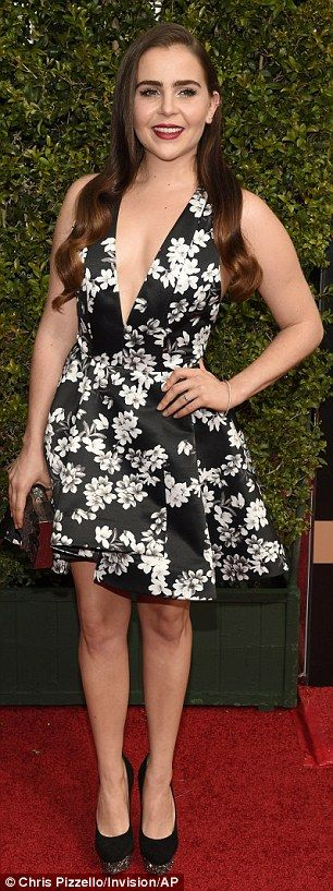Mae Whitman- black floral dress