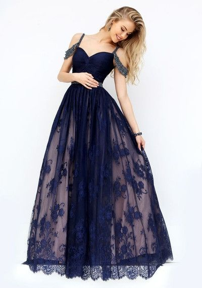 Sexy lace Prom Dress ,  spaghetti straps  Prom Dress , tulle Prom Dress for teens