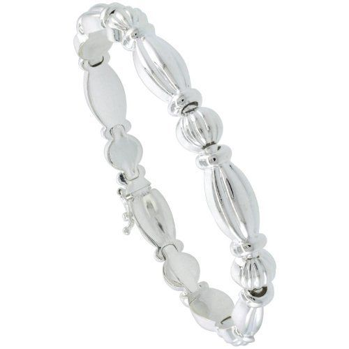 """Sterling Silver Stampato Chain 7 in. Oval Link Bracelet (Also Available in 8""""), 5/16 in. (8mm) wide Sabrina Silver. $70.20"""
