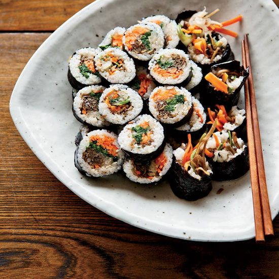 11 recipes from David Chang including Korean Sushi Rolls with Walnut Edamame Crumble | David Chang was inspired to make these playful rolls by a snack he had at Yunpilam, a temple in South Korea, where the nuns served him edamame mixed with walnuts and molasses. His rolls have an edamame-and-walnut filling; unlike other sushi rolls, they can be served warm.