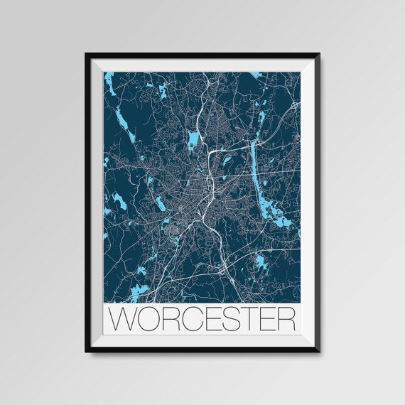 Worcester map, Massachusetts, Worcester print, Worcester poster, Worcester map art, Worcester city maps, Worcester Minimal Wall Art, Worcester Office Home Décor, black and white custom maps, personalized maps  Assumption, Becker, Clark University, Holy Cross, Mass. College of Pharmacy & Health Sciences, Quinsigamond Community College, UMass Medical School, Worcester State University, Worcester Polytechnic Institute