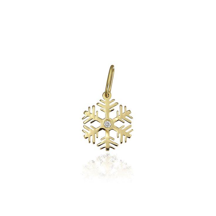 Pandantiv din aur fulg de nea cu diamant. Pandantive aur din aur 14k, Pandantive aur din aur alb, Pandantive aur din aur roz, realizate de bijuteria Safir. Pentru mai multe detalii va rugam sa ne contactati.
