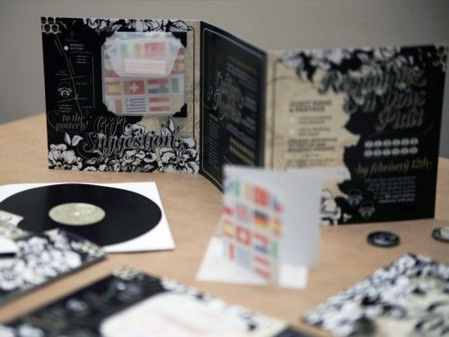 Caitlan + Andrew's Black Heavy Metal Wedding Invitations | It's a Date Design