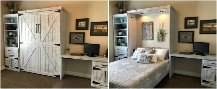 """Our customer chose the BedderWay Vertical Queen Barn Face Murphy bed in oak painted Weathered White with 11"""" black modern pulls along with a workstation."""