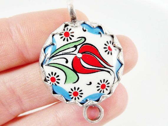 Hand painted Turkish Cini Red Tulip Ceramic by LylaSupplies, $9.50