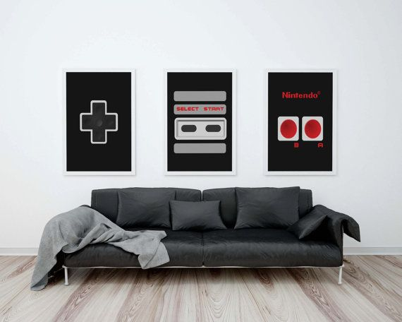 "Nintendo-Controller Printable 11 ""X 14"" Set, Nintendo Art, NES-Controller drucken, Geek Chic, Geeky Nordic drucken, Retro-Videospiel, Geschenk für ihn"