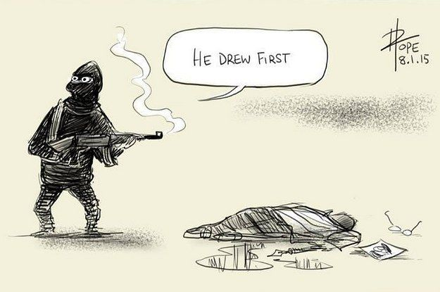 22 Heartbreaking Cartoons From Artists Responding To The Charlie Hebdo Shooting | Religion is a pox on humanity, and none more so than Islam