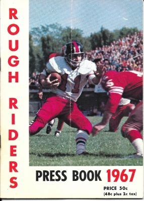 """Ottawa Rough Riders 1967 Press Book - this nice 1967 press book also appears to be a miniature program (5"""" x 7"""") for the July 31, 1967 game vs the Saskatchewan Roughriders. 46-page guide includes the Ottawa team history, player profiles with photos, statistics, rosters for the game, and much more."""