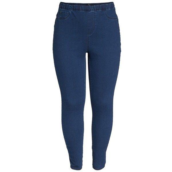Plus Size Women's Evans Denim Leggings ($34) ❤ liked on Polyvore featuring  pants, leggings, mid wash, plus size, women's plus size leggings, stretchy  jean ...