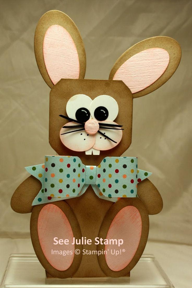 See Julie Stamp - Julie Wadlinger, Stampin' Up! Demonstrator : Blog Hop: Promotion Playtime - Easter Bunny based on Jackie Topa's snowman tutorial - directions & links in the post.