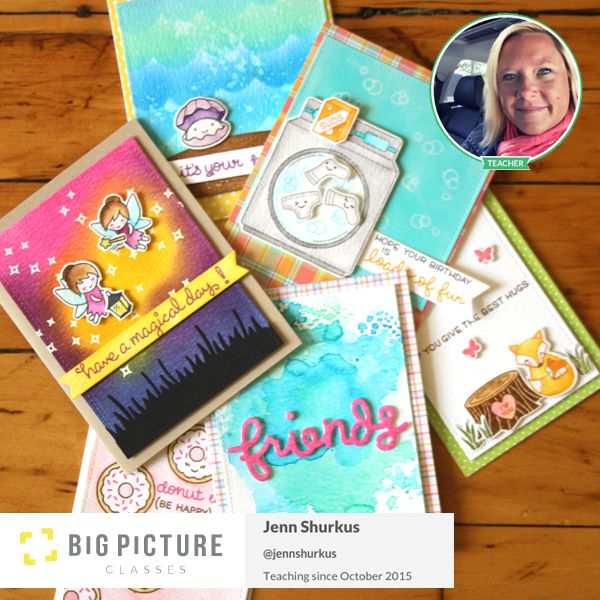 Distress Ink Card Techniques with Lawn Fawn at Big Picture Classes | shurkus.com