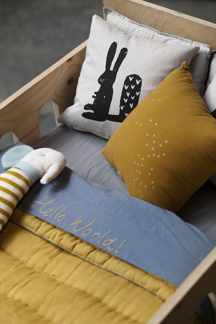 Oker geel en grijs, echt super mooie combinatie bij elkaar (voor jongens en meiden).